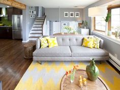 Grey and lemon- with the hardwood floors and white trim