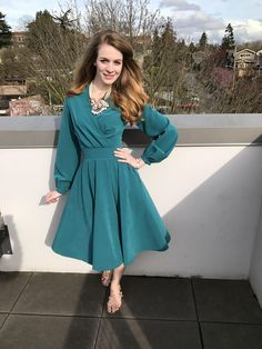 Peacock blue engagement party dress with a little bit of vintage flair [McCalls7431 McCalls7081 Self Drafted] #sewing #crafts #handmade #quilting #fabric #vintage #DIY #craft #knitting