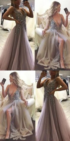 Sexy Side Split Prom Dress,Sleeveless Tulle Evening Dress,Long Party Dress, A