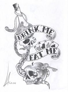 Cute Alice in wonderland inspired tattoo. I don't usually like skulls and such, but I do like this tattoo