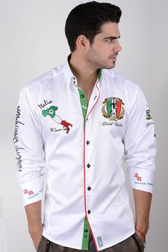 WORLD CUP ITALIA White Mens Designer Shirts, Kids Shirts, Men's Shirts, Casual Shirts For Men, Shirt Style, Chef Jackets, Shirt Designs, Menswear, Alexandra Daddario