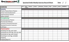 Your weekly ankle sprain exercises record sheet. Download the pdf version at sportsinjuryclinic.net