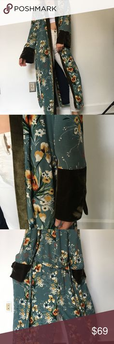 Maxi printed kimono Beautiful jade printed kimono, maxi length, featuring velvet detail and pockets, thick material, fully lined. Great quality and mint condition, worn once. Zara Jackets & Coats Trench Coats
