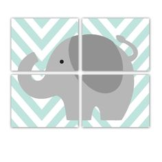 Elephant Nursery Print Elephant Chevron Jungle Nursery Art Prints Set of Four 8x10 Inch Prints - Customize Colors