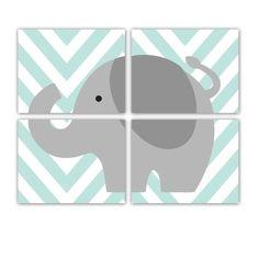 Elephant Nursery Print Elephant Chevron Jungle Nursery Art Prints Set of Four 8x10 Inch Prints - Customize Colors