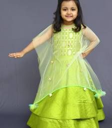 Buy Green brocade double layered one piece with cape kid online