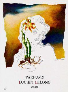 Lucien LeLong Perfume Ad by Cassandre,  1946