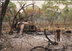A bombed out Ratel IFV of the South African Defence Force on 8 October Angola. Two MiG jets spotted the armour column and each dropped a bomb; one forming the crator to the right, the other igniting the ammunition inside the Ratel, causing the Military Life, Military History, Army Day, Defence Force, African History, Vietnam War, Armed Forces, Cool Photos, South Africa
