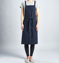 Daily linen apron Dark Navy / Premium Linen 100% / by aroundLINEN