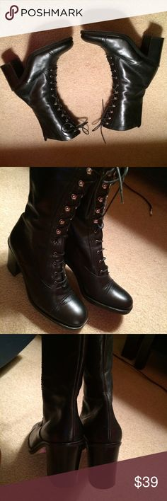 Italian Made Black Leather Lace Up Boots. Sz 7 Great condition. Sz 7. Great Condition Lace and Hook. Heels Italian Shoes Combat & Moto Boots