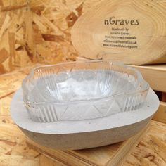 Upcycled Yellow Glass Bowl set in Grey Concrete by nGravesMaker on Etsy https://www.etsy.com/listing/271701480/upcycled-yellow-glass-bowl-set-in-grey