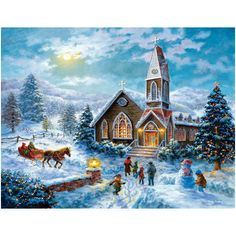 """Parents Pray Children Play 1000 Piece Puzzle: While parents are inside this quaint country church, the children are outside playing in the snow! This 1000-piece jigsaw puzzle by artist Nicky Boehme is 27"""" x 36"""" when complete. For ages 13+  $16.99  http://www.calendars.com/Christmas-Puzzles/Parents-Pray-Children-Play-1000-Piece-Puzzle/prod1289103/?categoryId=cat490054=cat490054#"""