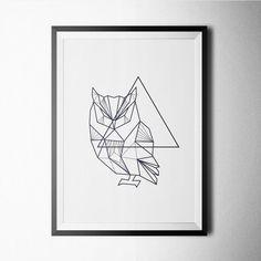 Owl Poster  geometric print inspirational art by PosterKing