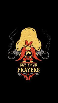 Looney Tunes : Say Your Prayers Looney Tunes Characters, Classic Cartoon Characters, Looney Tunes Cartoons, Classic Cartoons, Cartoon Character Tattoos, Favorite Cartoon Character, Yosemite Sam, Cartoon Wallpaper, Looney Tunes Wallpaper