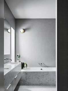 Clare Cousins Architects design a modern brick addition while altering the existing double-fronted Victorian in Melbourne's hip and happening North-side. Contemporary Interior Design, Modern Bathroom Design, Bathroom Interior Design, Home Interior, Decor Interior Design, Bathroom Designs, Bathroom Ideas, Bathroom Remodeling, Remodel Bathroom