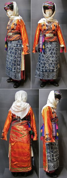 Traditional bridal costume from the Malatya province, Kurdish (Zaza) Alevi ethnic group, 1925-1950.  With an ikat silk 'deyre' (an üçetek with front panels decorated on the inside – a garment which is characteristic of Alevi people).  Parts of the jewelry are older (late 19th century).  (Kavak Costume Collection - Antwerpen/Belgium).