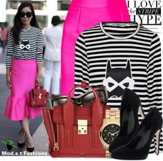 """""""...in stripes and a peplum!!"""" by modestyfashions on Polyvore"""