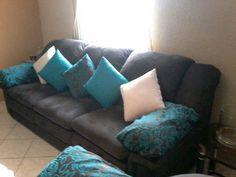 Sala doble almohadon de 3 set con decorativos turqueza!