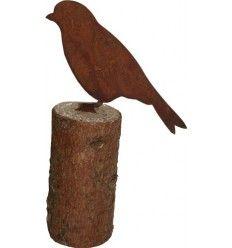 Edelrost Eule 20 cm mit Baumspieß Gartendeko Rost Gartenfiguren Tierfiguren Holz