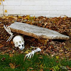 Pieces of a plastic skeleton make a creepy entrance in this simple outdoor Halloween décor idea. Make the Halloween craft: Prop up an odd-shape piece of hardscape material at an angle. (In place of very heavy rock, use a piece of foam core, painted and streaked gray.) Tuck skeleton hands and skull, and feet if desired, in a pose and scatter fallen leaves.