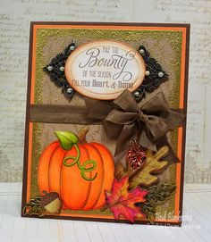Fall Applique Clear Stamps - Bounty of the Season Card - JustRite Papercraft July New Release Day Four
