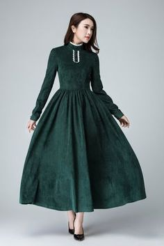 Prom Dresses 2018 Green Corduroy dress maxi dress women long dress prom by xiaolizi Trendy Dresses, Modest Dresses, Elegant Dresses, Nice Dresses, Casual Dresses, Fashion Dresses, Prom Dresses, Dress Prom, Dress Wedding