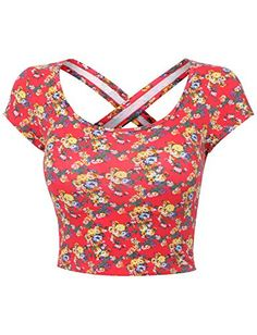 RubyK Womens Fitted Criss Cross Back Short Sleeve Floral Print Crop Top with Stretch RubyK http://www.amazon.com/dp/B00TGNXPTA/ref=cm_sw_r_pi_dp_dtVqvb0T7859S