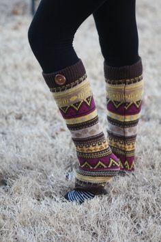 Aztec Legwarmers- Tan Leg warmers, Purple, Khaki Legwarmers, Brown, Knitted Leg warmers, Boot Socks, Boot cover, Winter Socks, Aztec Print on Etsy, $24.00