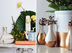 Glam up a basic flower vase with some gold paint.