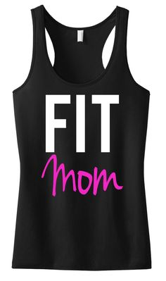 """""""FIT MOM"""" Black with Pink Racerback Pictured Perfect for Mom's who Work Hard to Stay Fit! Available in Sizes S, M, L, XL, 2XL Model Stats: Height = 5'5"""", Weight = 135 lbs, Bust = 32DD, *** Wearing Size Small in all Size Chart Photos *** 60% Cotton 40% Poly Very Soft Relaxed Fit Workout Attire, Workout Wear, Mom Workout, Workout Routines, Pink Workout, Fitness Routines, Strength Workout, Workout Outfits, Site Nike"""