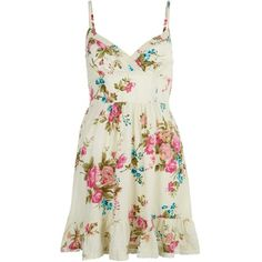 Cream Floral Strappy Sun Dress (€6,85) ❤ liked on Polyvore featuring dresses, vestidos, short dresses, beach dress, short beach dresses, summer sundresses, summer dresses y cream dress