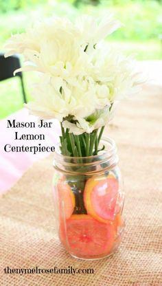 Mason Jar Lemon Centerpiece