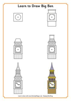Possibly London's best known and most loved landmark, Big Ben has been keeping the time for the capital city for many long years. Kids can enjoy this drawing tutorial which will teach them how to draw Big Ben in a simple step by step fashion. Big Ben London, London Drawing, Big Ben Clock, Buch Design, London Landmarks, Travel Drawing, Thinking Day, London Art, London Icons
