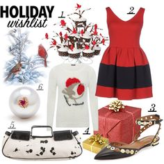 winter wishes by kc-spangler on Polyvore featuring AINEA, M&Co, Aquazzura, Burberry, Carolina Bucci, WishList, red, holiday, contestentry and 2015wishlist