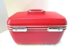 Vintage Train Case Red Carry On Luggage Traincase by junquegypsy