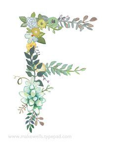 F Floral Letter print by Makewells on Etsy