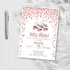 Roller Skate Birthday Invitation, Roller Skating Party Invite, Pink and gold Glitter Confetti Girl Skate rink Party Printed or Printable Roller Skating Party, Skate Party, Elegant Invitations, Invitation Design, Invite, Gold Invitations, Gold Bridal Showers, Graduation Party Invitations, Wedding Prints