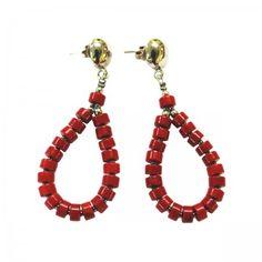 Lacrom - Sharra Pagano - Earrings Pending stud earrings with colored resin bead.