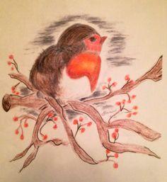 Chunky Baby Robin print of original by Theresa Groom