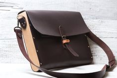 """Leather + wood briefcase messenger bag. Hand stitched dark brown color for documents, papers, laptop, iPad Air, Macbook 11"""" 13"""" 15"""" wooden"""