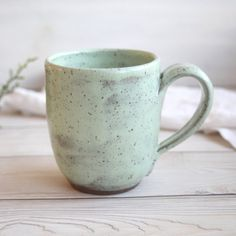 Image of Mint Green Pottery Mug, Handcrafted Stoneware Coffee Cup Made in USA Green Colour Palette, Green Colors, Pottery Mugs, Ceramic Pottery, Ceramic Bowls, Stoneware, Coffee Cups, Tea Cups, Clean Technology