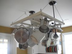 Gotta love old windows, did this pot rack with one.