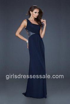 La Femme Style 17166 One Shoulder Long Navy Prom Dresses
