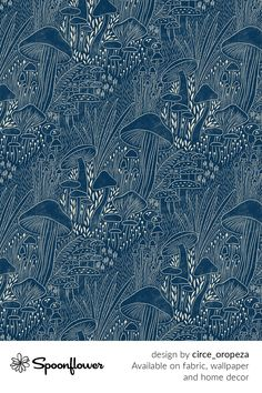 Customize your own home decor, #wallpaper and #fabric at Spoonflower. Shop your favorite indie designs on #fabric, #wallpaper and home decor products on Spoonflower, all printed with #eco-friendly inks and handmade in the United States. #patterndesign #textildesign #pattern #digitalprinting #homedecor #mushrooms Stoff Design, Hidden Places, Plant Design, Modern Boho, Color Trends, Watercolor Flowers, Custom Fabric, Boho Decor, Spoonflower