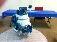 The Duct Tape Wedding Cake on Display on Crystal Cake Stand