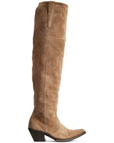 Over-the-knee style. Tan Knee High Boots, Over The Knee Boot Outfit, Tall Boots, Shoe Boots, Country Boots, Western Boots, Rodeo Outfits, Womens Clearance, Goodyear Welt