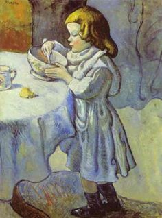"""Pablo Picasso - """"Le Gourmet"""". 1901 year Oil on canvas Washington, National Gallery of Art,"""
