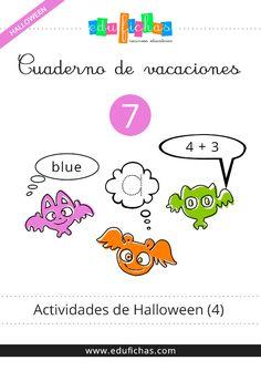 Cuaderno de actividades de Halloween para niños en PDF. Descarga este cuaderno con actividades de grafomotricidad, sumas, restas, inglés, collage, colores..