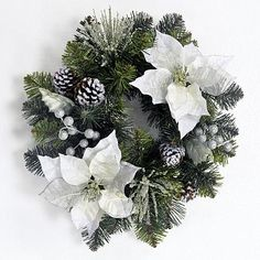 Jaclyn Smith Midnight Clear 18in white poinsettia wreath