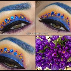 This exotic eye makeup uses eye shadows in gold, brown, and blue, as well as black liner and rhinestones in different colors. See the awesome products used to create the look.